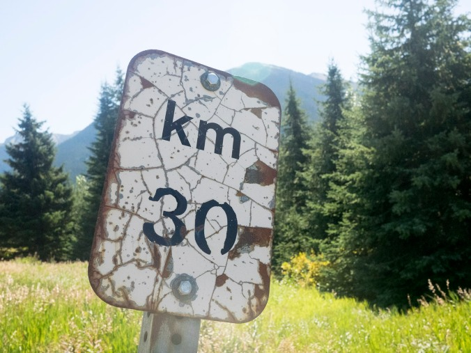 Marking the 30km mark on the Duffey Lake road.