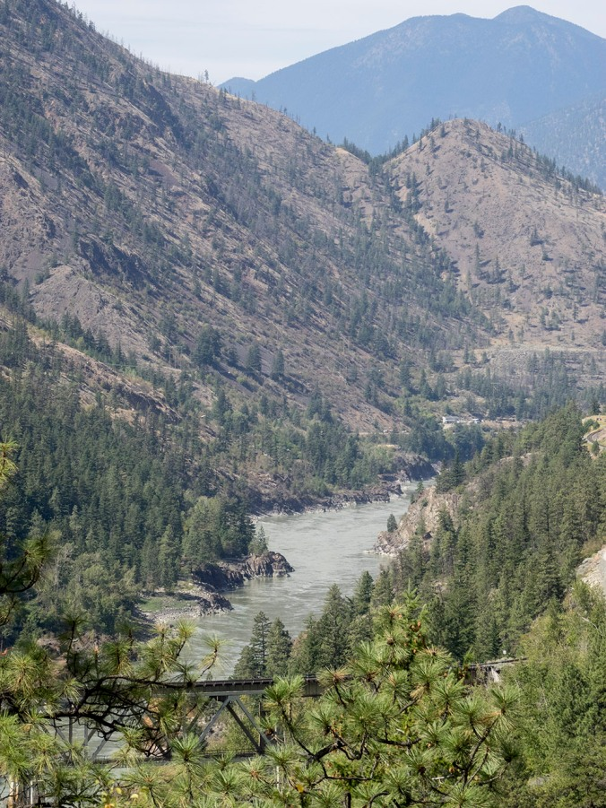 The Fraser River winds its way through the dry country just outside of Lillooet
