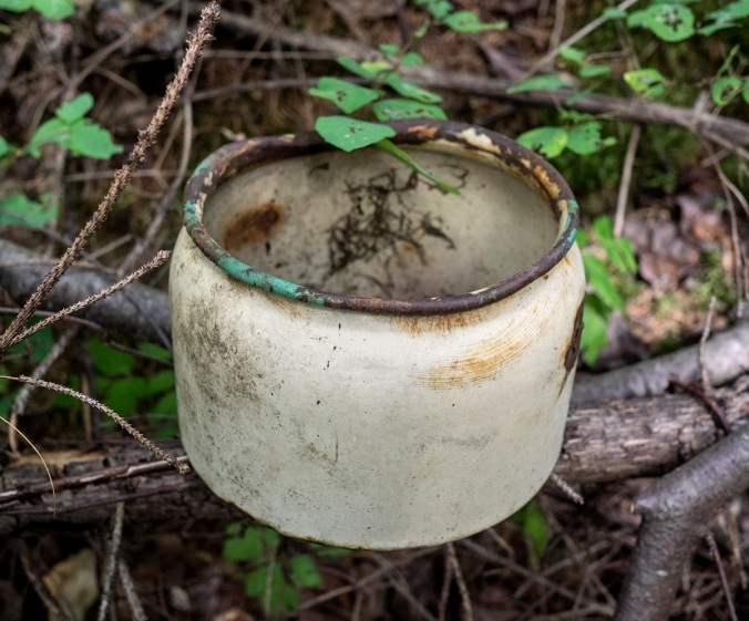 We found this pot near the site of my old cabin, so I guess it was probably mine!