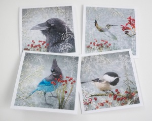 Winter Birds of the Pacific Northwest Greeting Cards by June Hunter
