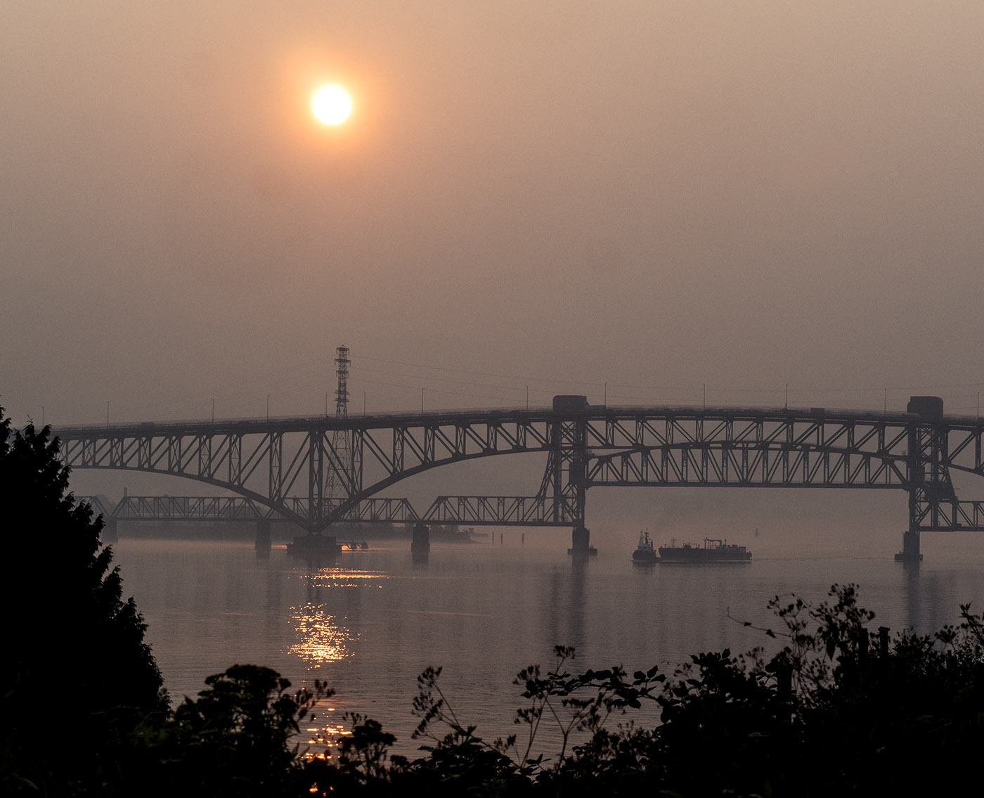 Apocolypse Sunrise over Iron Workers Bridge