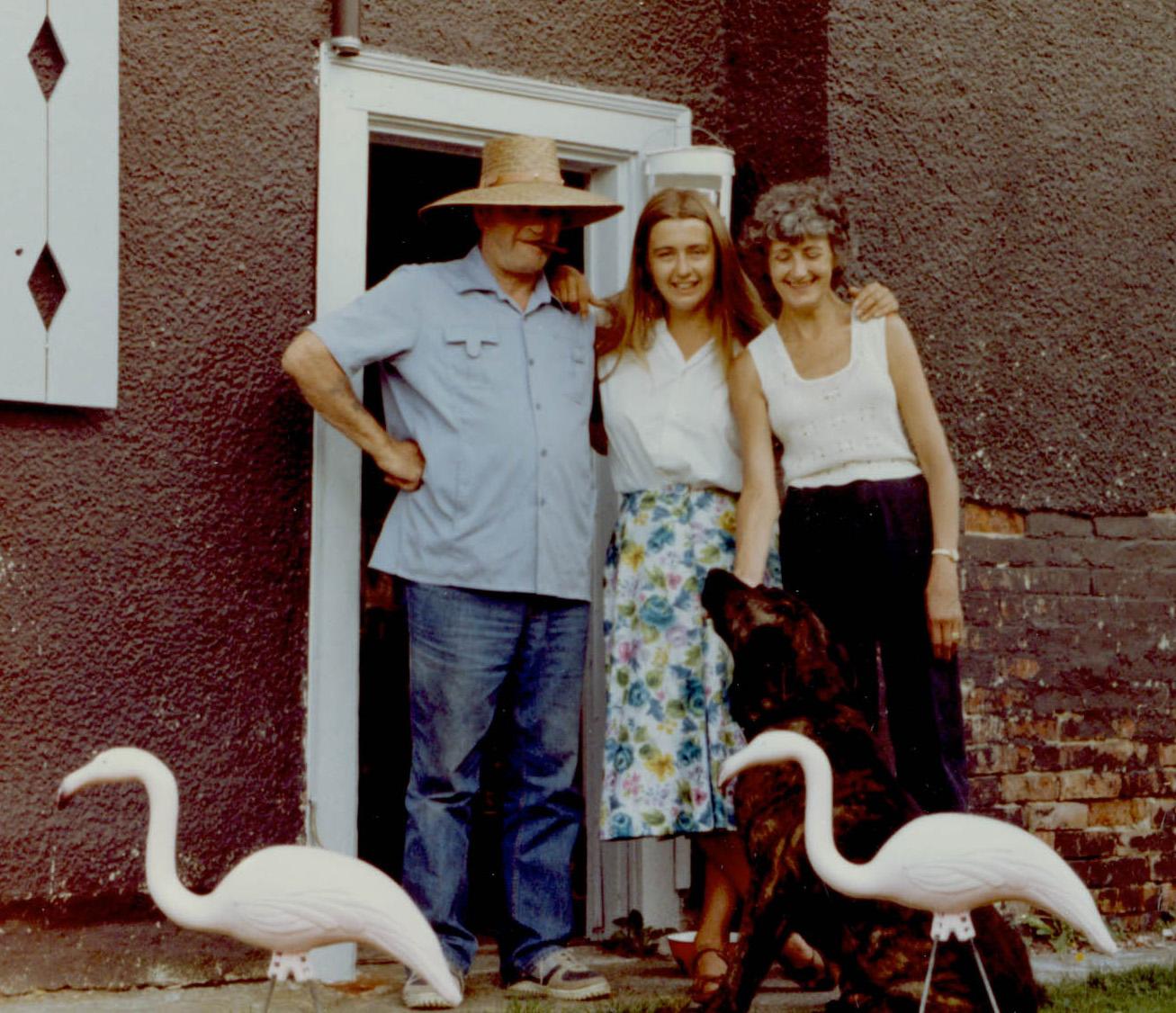 Mam, Dad, June, flamingoes